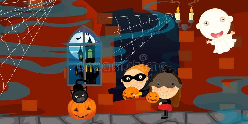 Сцена хеллоуина шаржа с характерами иллюстрация вектора