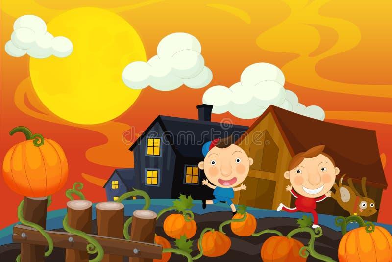 Сцена хеллоуина шаржа иллюстрация штока