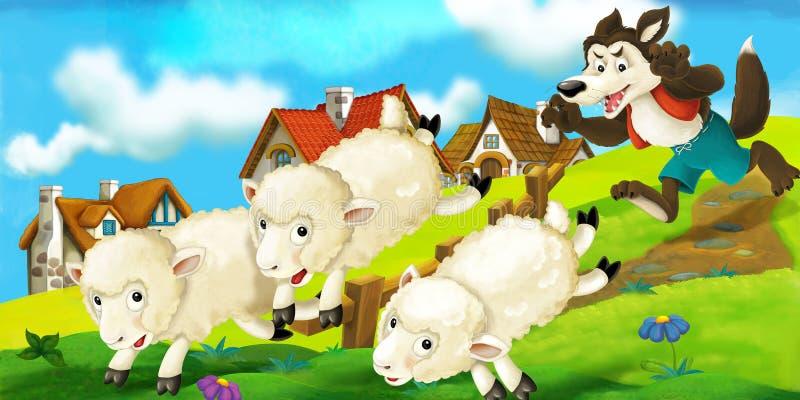 Сцена шаржа волка пробуя украсть овцу от табуна иллюстрация вектора