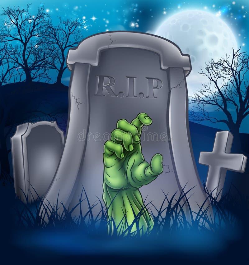 Сцена шаржа зомби или изверга хеллоуина бесплатная иллюстрация