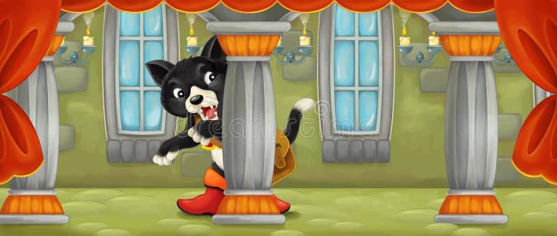 Сцена шаржа при вспугнутый или удивленный кот смотря где-то бесплатная иллюстрация