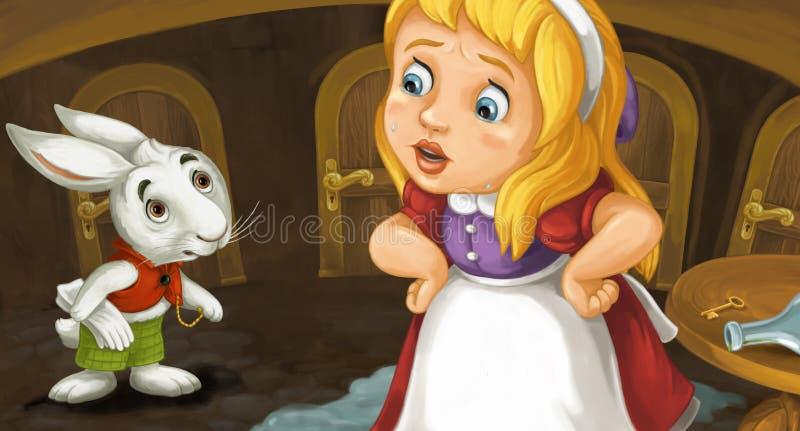 Сцена шаржа при девушка плача около таблицы с ключом и бутылки на ей говоря к милому кролику иллюстрация штока
