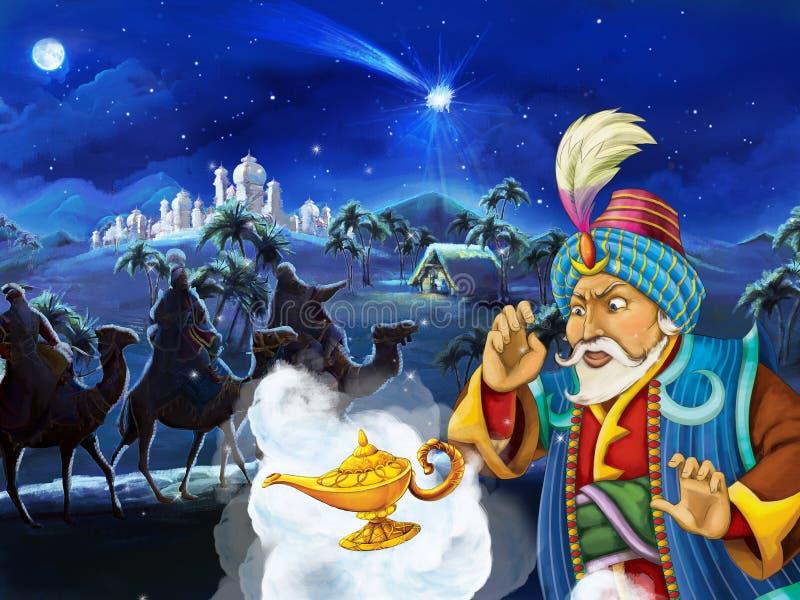 Сцена шаржа при король смотря 3 всадников на верблюдах к ноча иллюстрация вектора