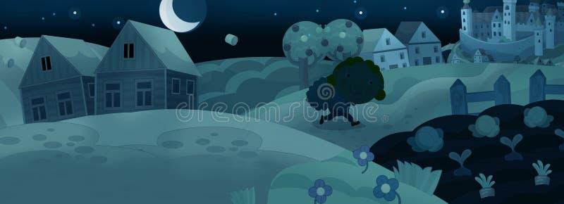 Сцена шаржа средневековая - путешественник к ноча иллюстрация вектора