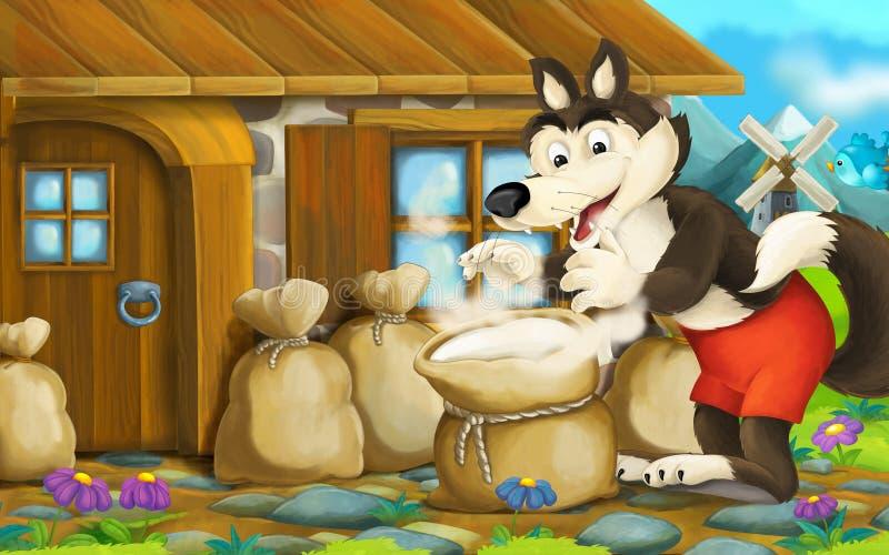 Сцена шаржа с волком около дома в деревне с мешком полным муки бесплатная иллюстрация