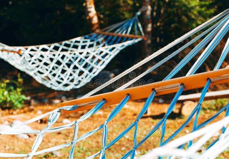 Сцена Idylic гамаков в солнце лета излучает стоковое фото rf