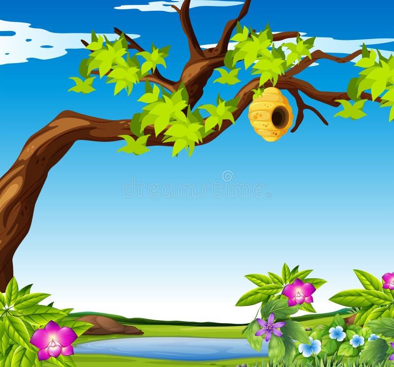 Сцена outdoors с крапивницей пчелы бесплатная иллюстрация