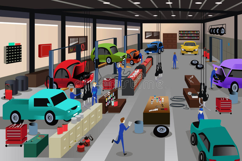 Сцены в ремонтной мастерской ремонта автомобилей иллюстрация вектора