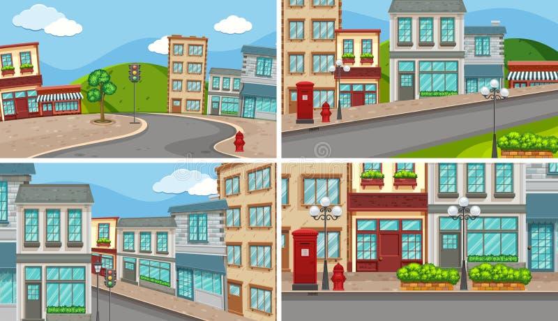 4 сцены города с много зданиями и пустых дорог иллюстрация вектора