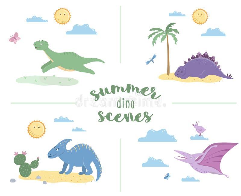 Сцены лета с милыми динозаврами иллюстрация вектора