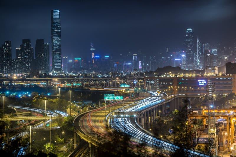 Сцены ночи Гонконга стоковое фото rf