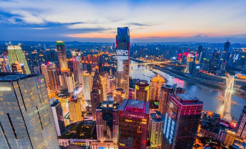 Сцены ночи Чунцина стоковое изображение