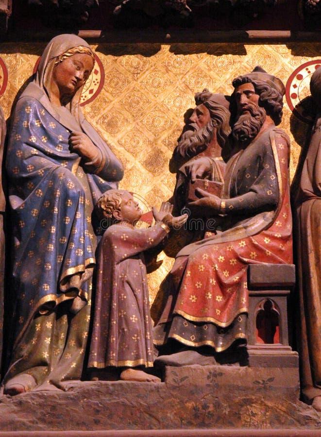 Сцены от жизни Иисуса, собора Нотр-Дам, Парижа стоковое изображение