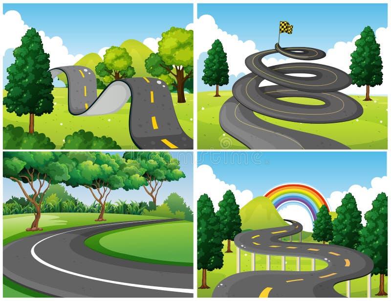 4 сцены парка и пустых дорог иллюстрация вектора