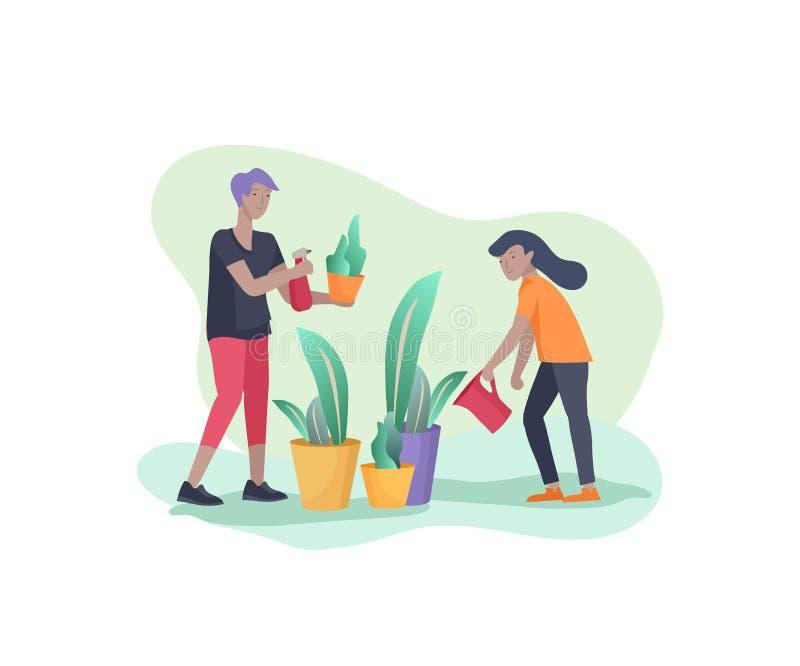 Сцены с семьей делая домашнее хозяйство, детей помогая родителям с домашней чисткой, моя зеленым цветам, очищая домашнему саду, в иллюстрация вектора