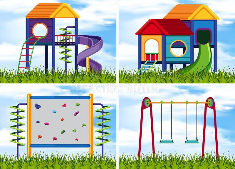 4 сцены с станциями игры на спортивной площадке иллюстрация штока