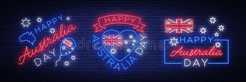 Счастливая Австралия 26-ого января, комплект праздничных элементов в неоновом стиле Собрание неоновых вывесок, лента с бесплатная иллюстрация