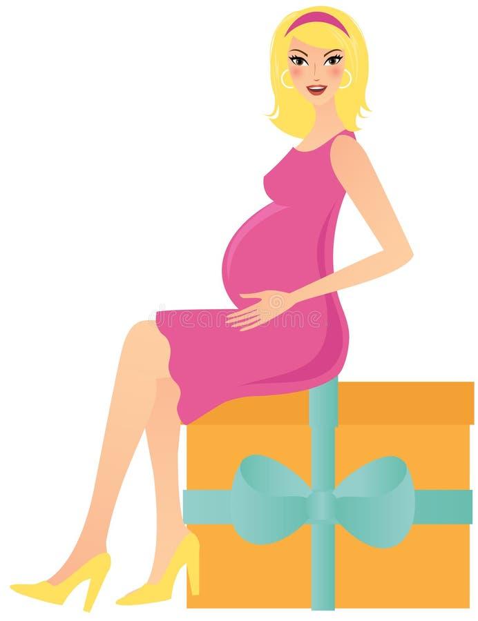 счастливая беременная женщина иллюстрация штока