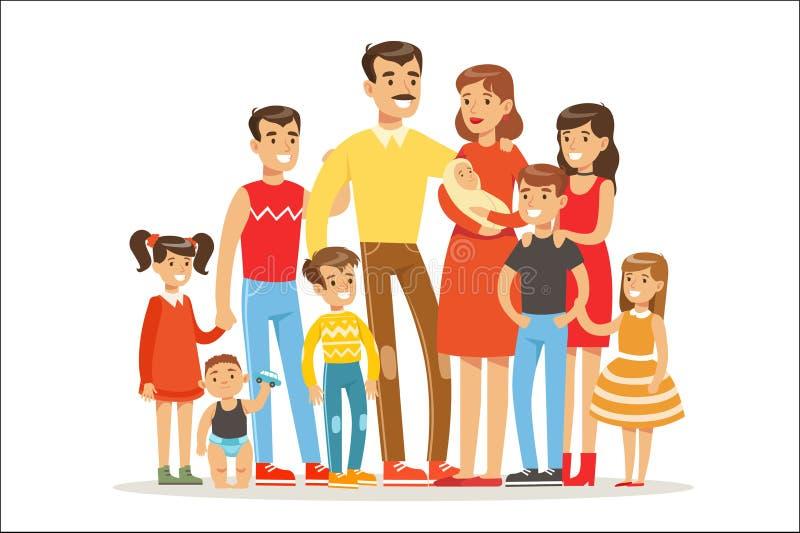 Счастливая большая кавказская семья с портретом много детей со всеми детьми и младенцами и уставшими родителями красочными бесплатная иллюстрация