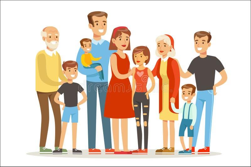 Счастливая большая кавказская семья с портретом много детей со всеми детьми и младенцами и уставшими родителями красочными иллюстрация штока