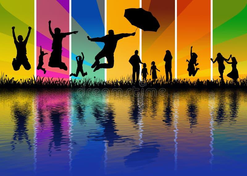 счастливая вода отражения людей бесплатная иллюстрация