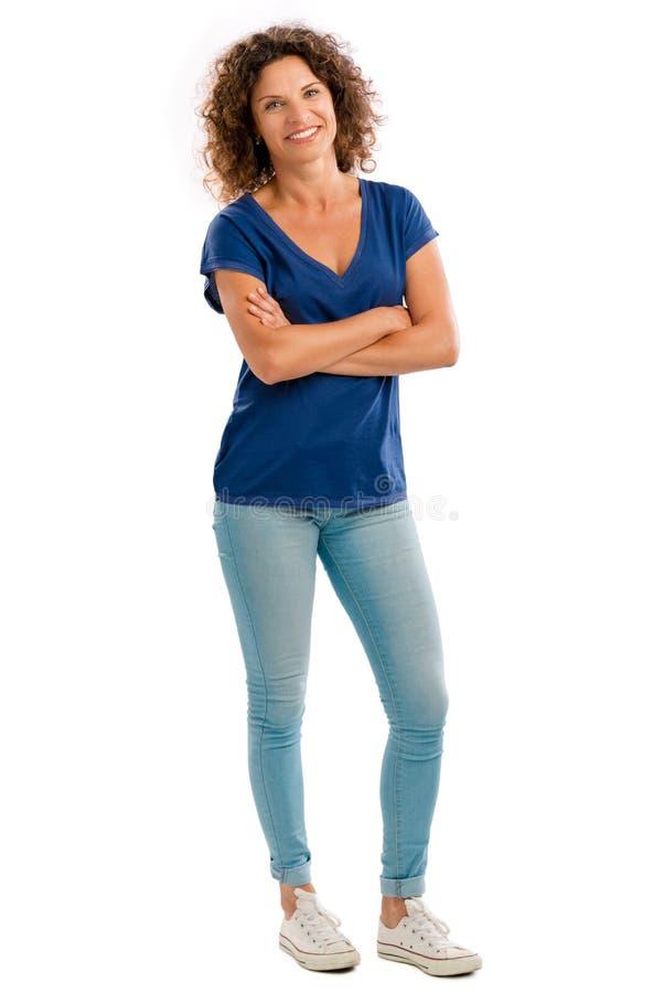 счастливая возмужалая женщина портрета стоковая фотография rf