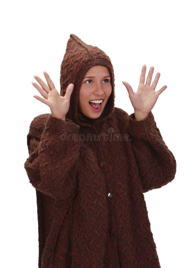 счастливая вспугнутая женщина стоковая фотография rf