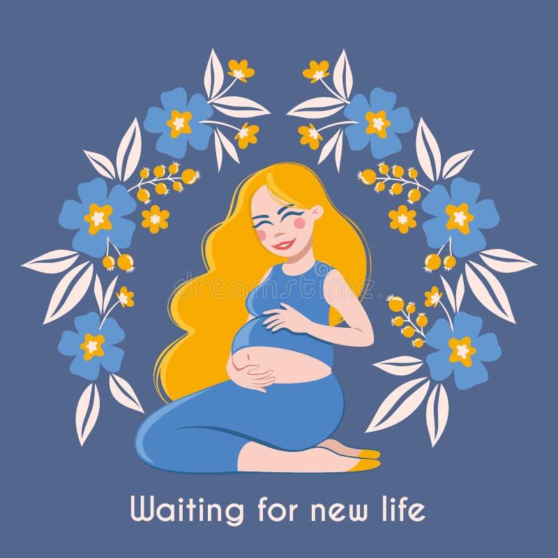 Счастливая выжидательная мать Поздравительная открытка с беременной красивой женщиной в рамке с цветками иллюстрация штока