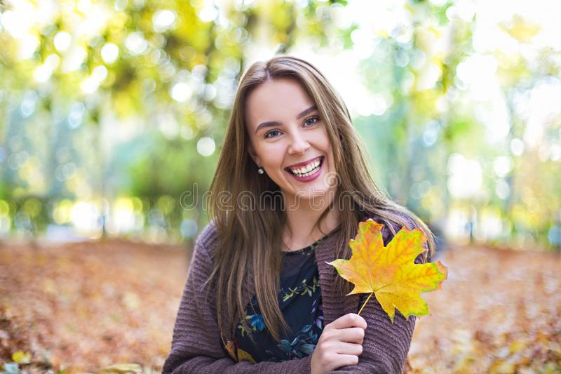 Счастливая девушка брюнета представляя в парке осени на желтой предпосылке деревьев стоковые фотографии rf