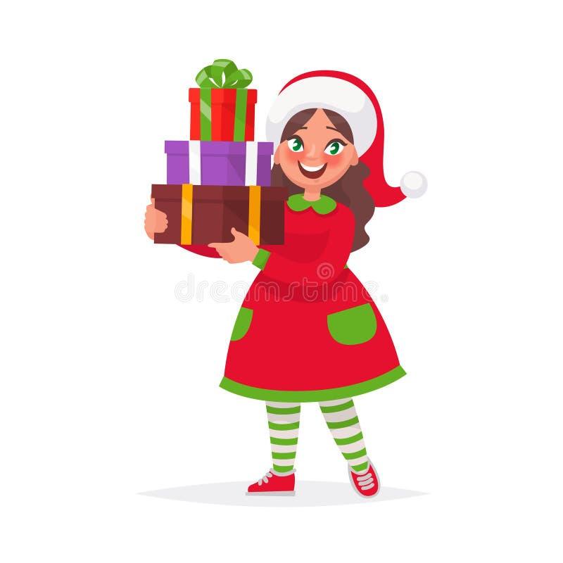 Счастливая девушка в шляпе рождества с подарком на праздник Иллюстрация вектора в стиле шаржа иллюстрация штока
