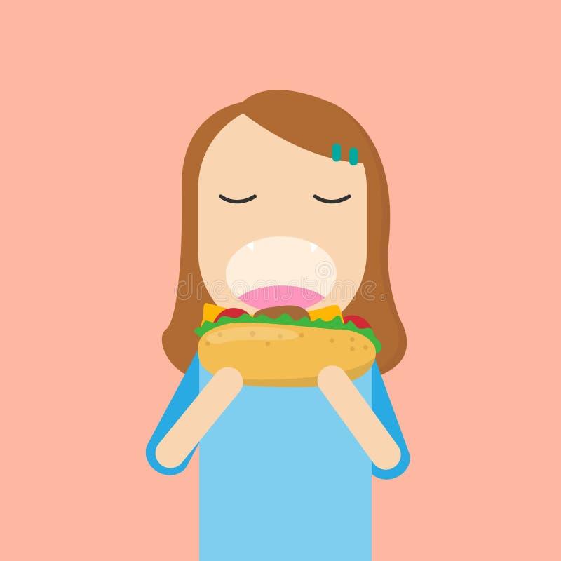 Счастливая девушка есть большой гамбургер с ртом широким раскрывает иллюстрация штока
