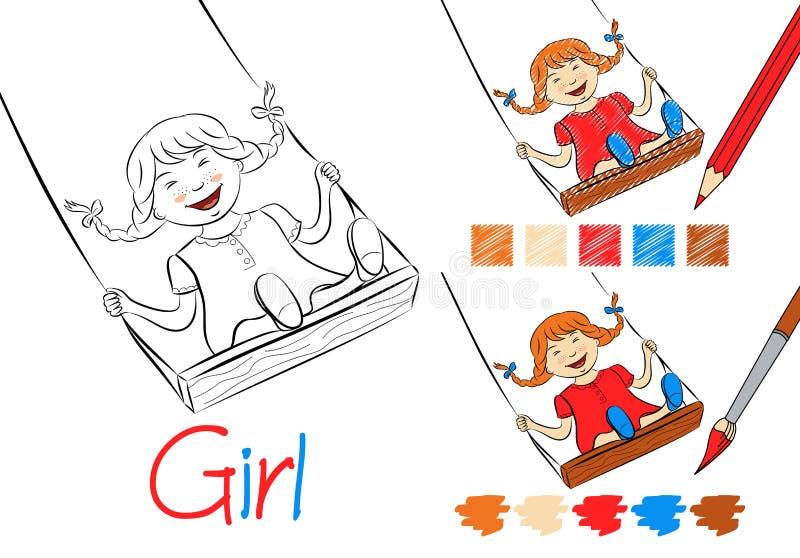 Счастливая девушка на иллюстрации вектора качания черно-белой для детей и взрослых Страница расцветки для книги примеры иллюстрация вектора