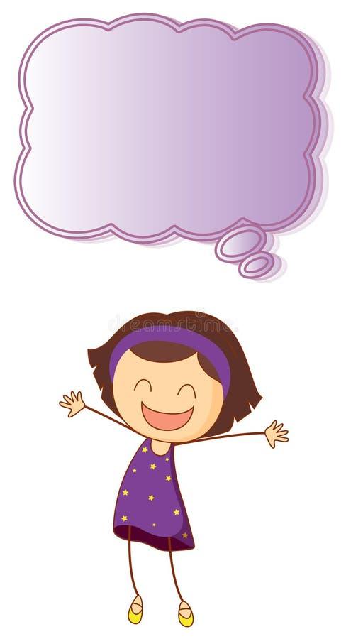 Счастливая девушка с пузырем речи иллюстрация штока