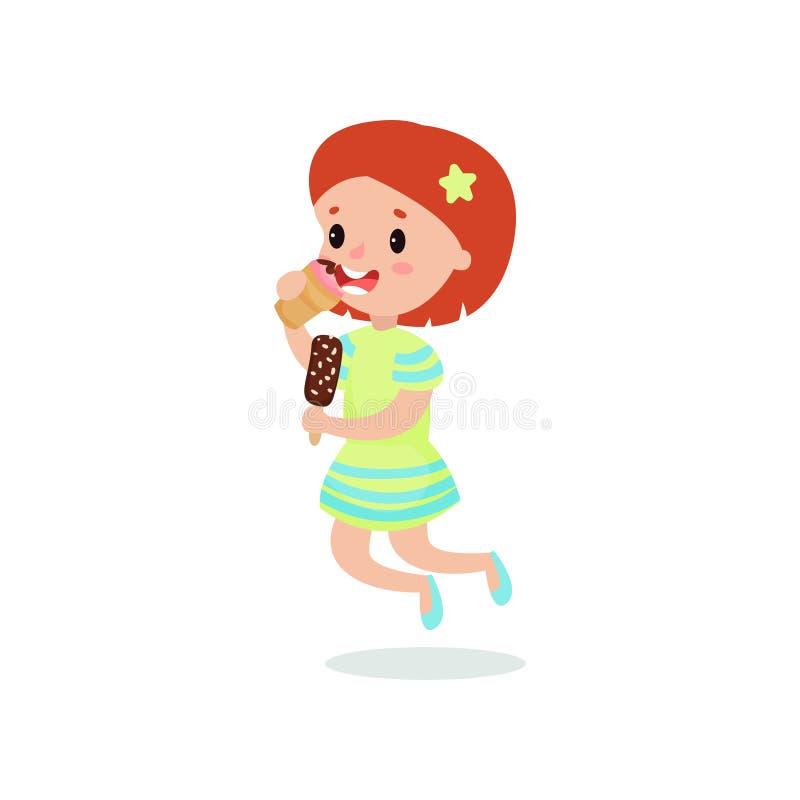 Счастливая девушка redhead лижа иллюстрацию вектора шаржа мороженого иллюстрация штока