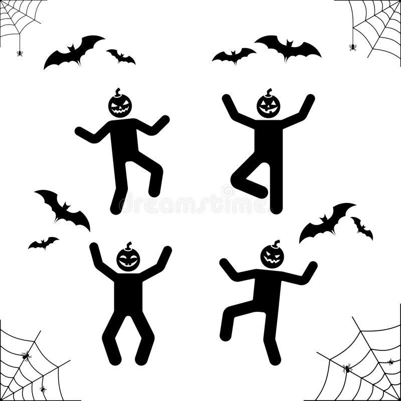 Счастливая диаграмма пиктограмма ручки хеллоуина головы тыквы Vector иллюстрация сети, летучая мышь, паук, значок праздника stick бесплатная иллюстрация