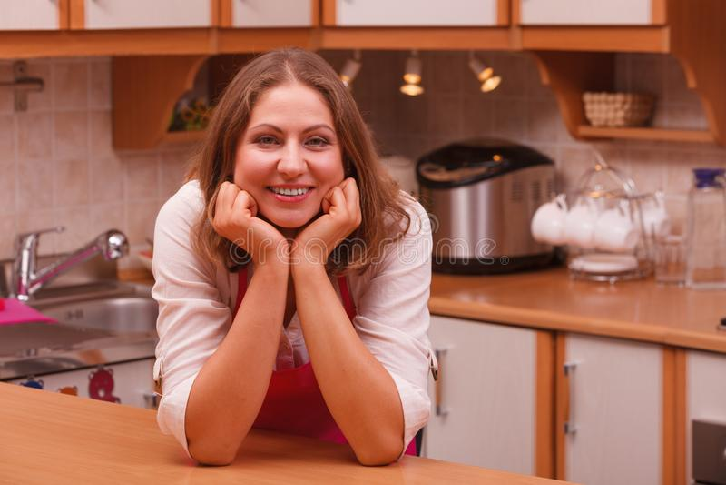 Счастливая домохозяйка в кухне стоковое изображение