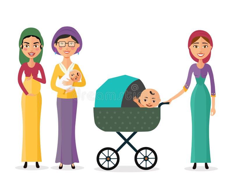 Счастливая еврейская женщина с newborn матерью младенца с иллюстрацией eps10 вектора мультфильма детей плоской иллюстрация штока