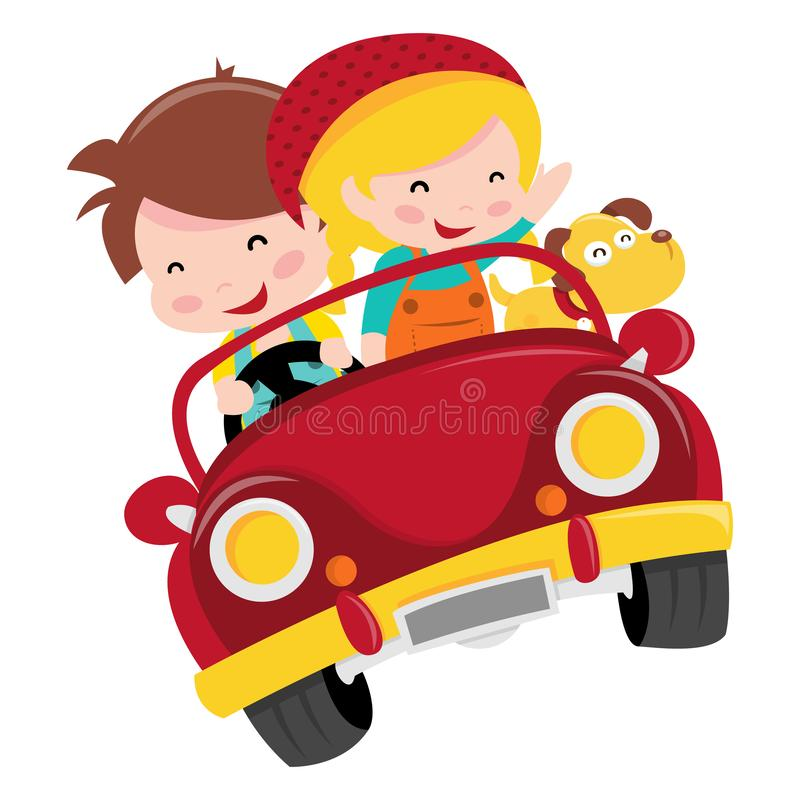 Счастливая езда автомобиля детей иллюстрация штока