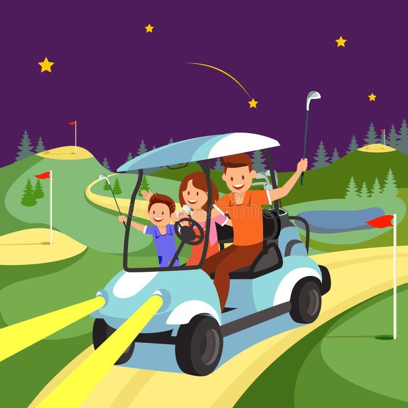 Счастливая езда семьи тележкой на поле для гольфа вечером иллюстрация вектора