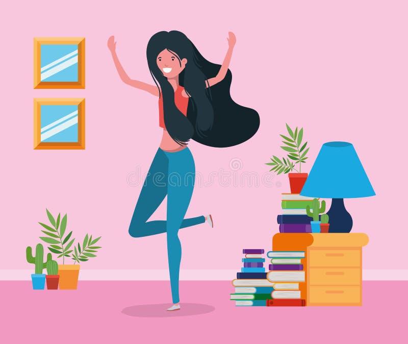 Счастливая женщина в дизайне комнаты исследования бесплатная иллюстрация