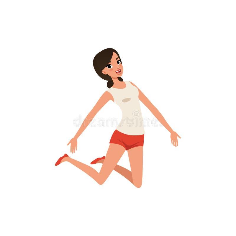 Счастливая женщина в скача действии Маленькая девочка с радостным выражением стороны Изолированный плоский дизайн вектора иллюстрация вектора