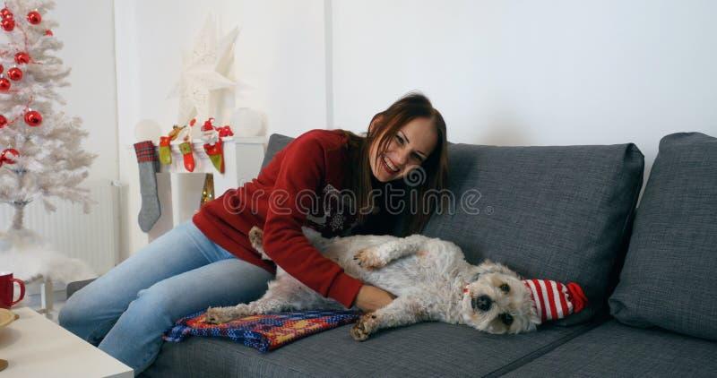 Счастливая женщина кладя с милой собакой в шляпе рождества стоковое изображение
