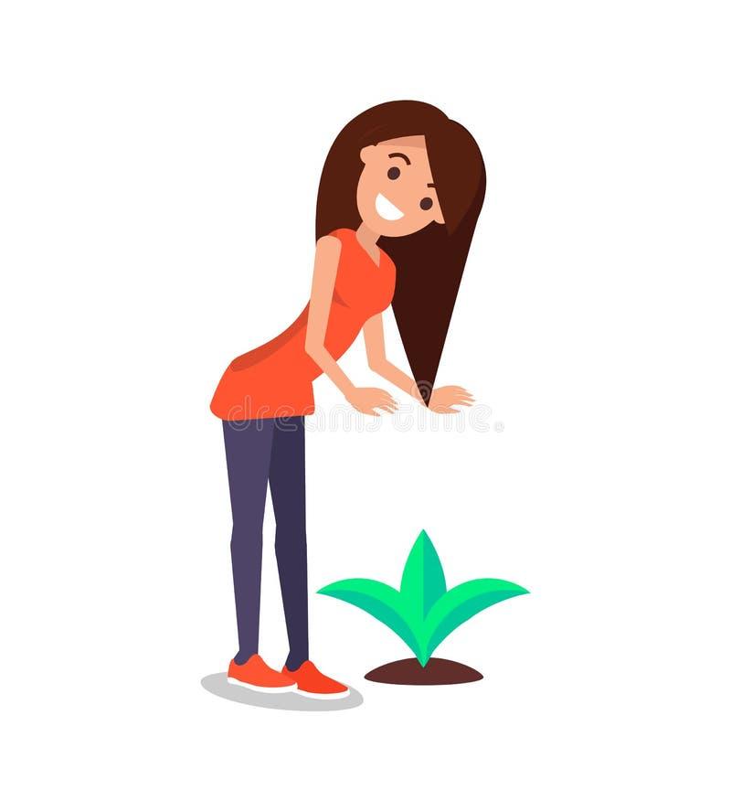 Счастливая женщина нежно смотрит растущий вектор завода иллюстрация штока