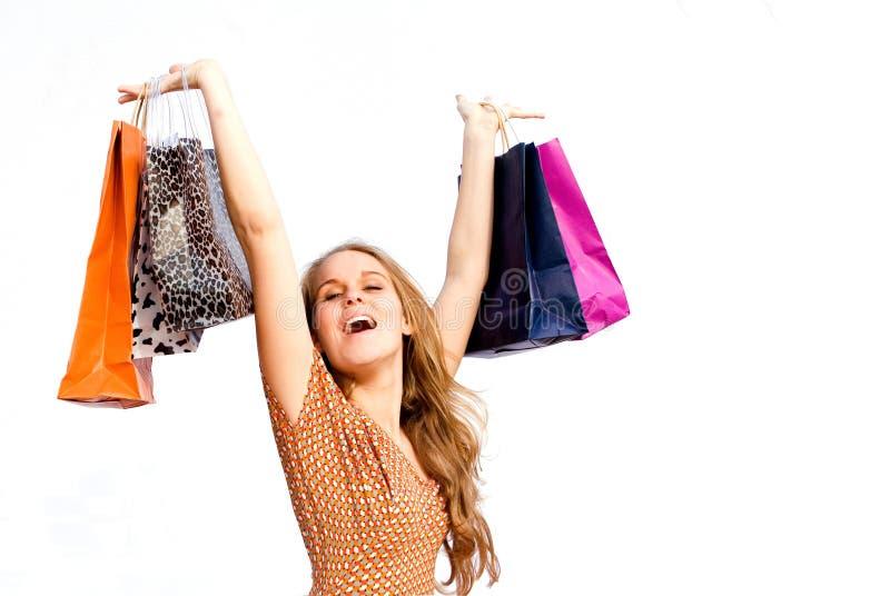 счастливая женщина покупкы стоковое фото rf