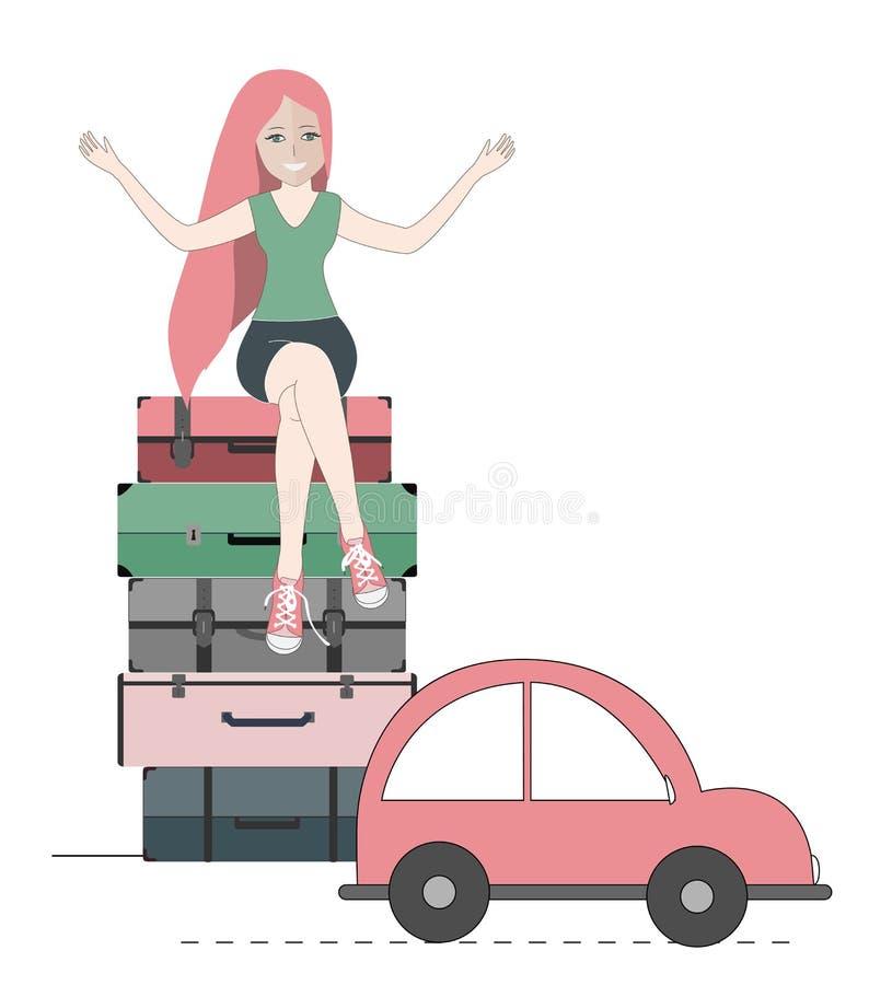 Счастливая женщина путешественника сидя на чемоданах и автомобиль готовый для того чтобы пойти также вектор иллюстрации притяжки  иллюстрация штока