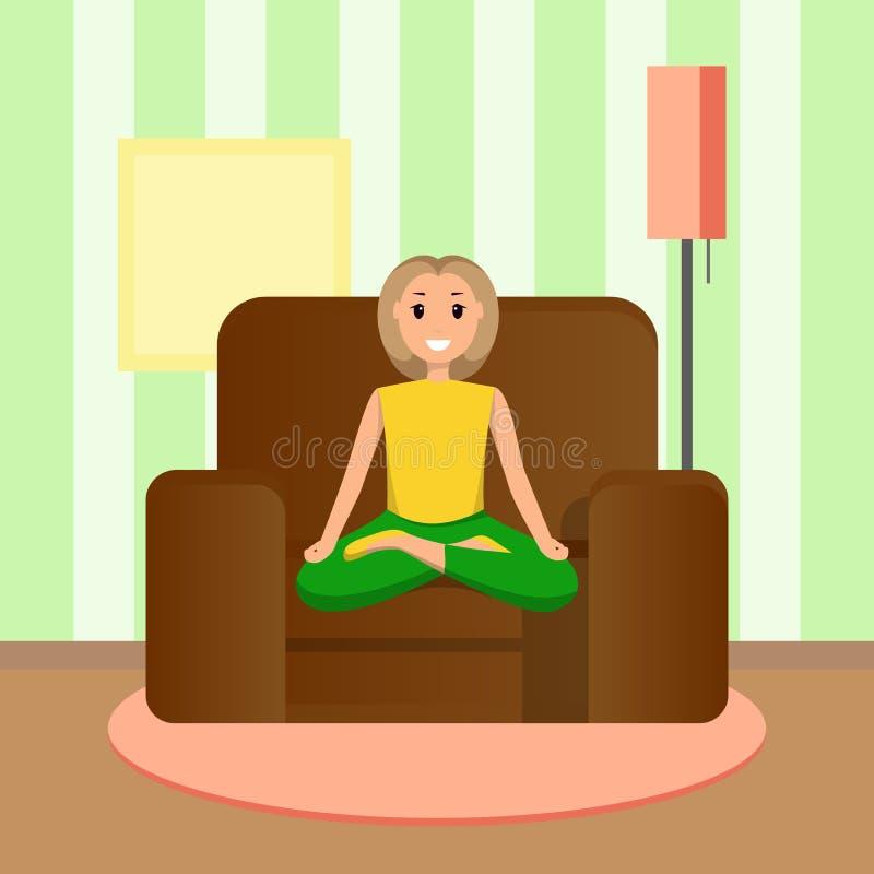 Счастливая женщина сидит положение лотоса, делая домашний спорт иллюстрация штока