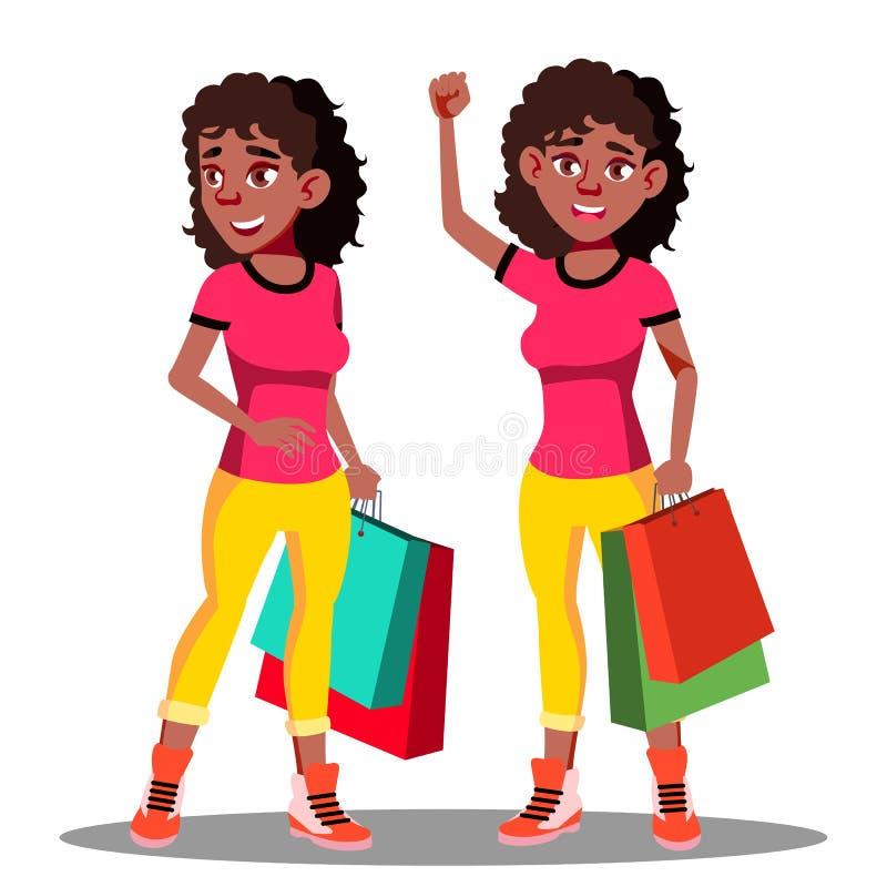 Счастливая женщина с хозяйственными сумками после ходя по магазинам вектора изолированная иллюстрация руки кнопки нажимающ женщин иллюстрация вектора
