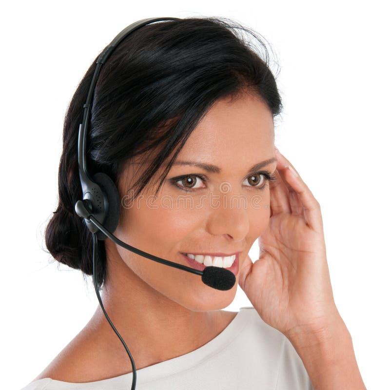 Счастливая женщина центра телефонного обслуживания стоковые фотографии rf