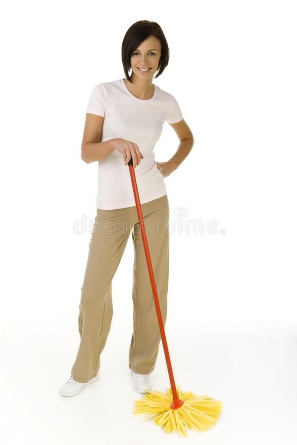счастливая женщина mop стоковая фотография rf