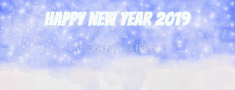 Счастливая зима на открытом воздухе с падая снежинками, Panor Нового Года 2019 иллюстрация вектора
